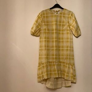 Cute yellow plaid smock dress